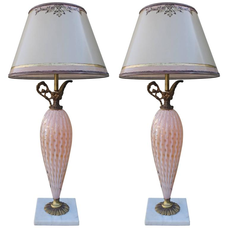 Pair Of Italian Pink Murano Vase Lamps For Sale At 1stdibs