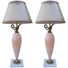Pair of Italian Pink Murano Vase Lamps