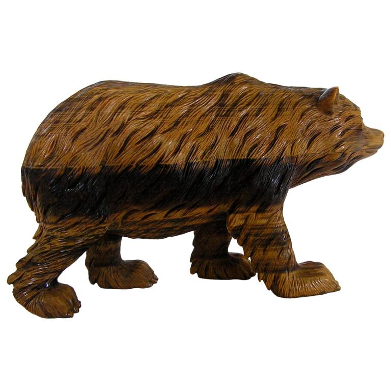 Very fine russian carved tigereye stone bear at stdibs
