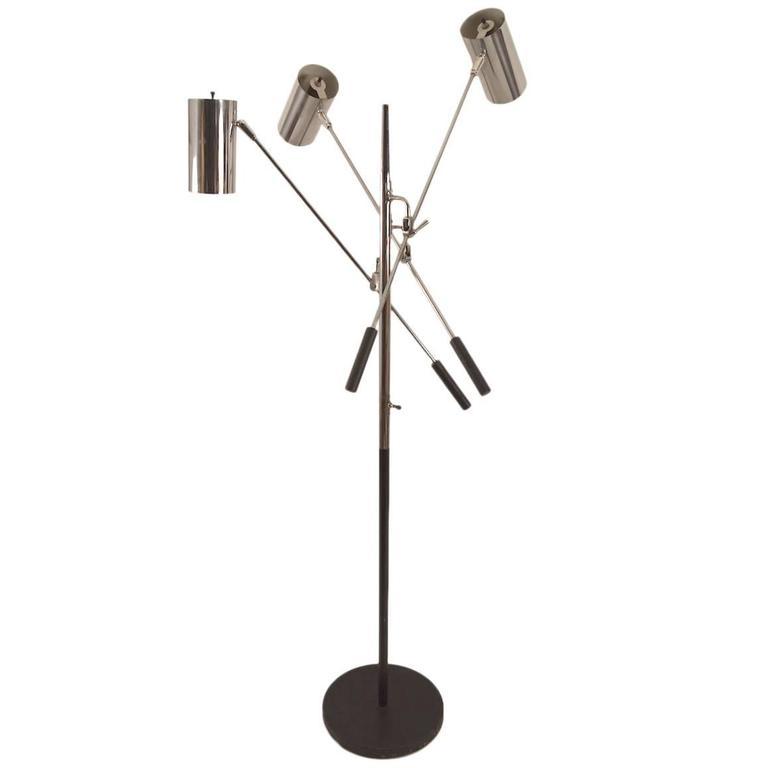 Black and Chrome Triennale Floor Lamp by Sonneman