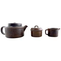 Complete 10 P. Arabia Ruska Stoneware Tea Service, Finnish Design, 1960-1970s