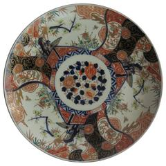 Large Japanese Edo Period Porcelain Charger Imari Kakiemon Decoration, Ca. 1850