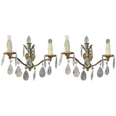1920s Pair of Gold Gilt French Classical Style Crystal Sconces