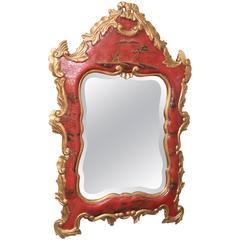 Vintage Red Chinoiserie Gilt and Hand-Painted Mirror, Chippendale Style