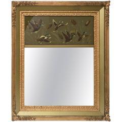 Vintage Mirror Giltwood Game Birds, Reversed Painted, Artist Signed