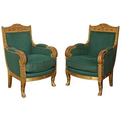 Pair of French Gilded Armchairs Provenance Versace