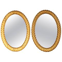 Two Similar 19th Century Irish, Gilded Oval Rope Twist Mirrors