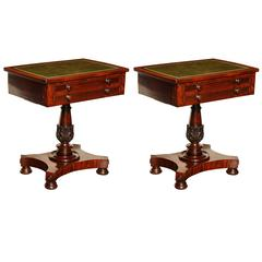 Pair of 19th Century Mahogany Tables with Leather Tops