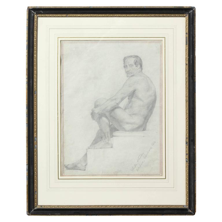 Mid-19th Century Irish Drawing of Male Nude by Alfred Elmore