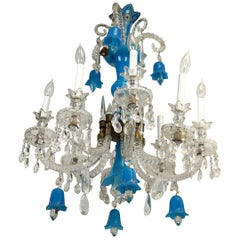 Blue Opaline and Clear Glass Chandelier