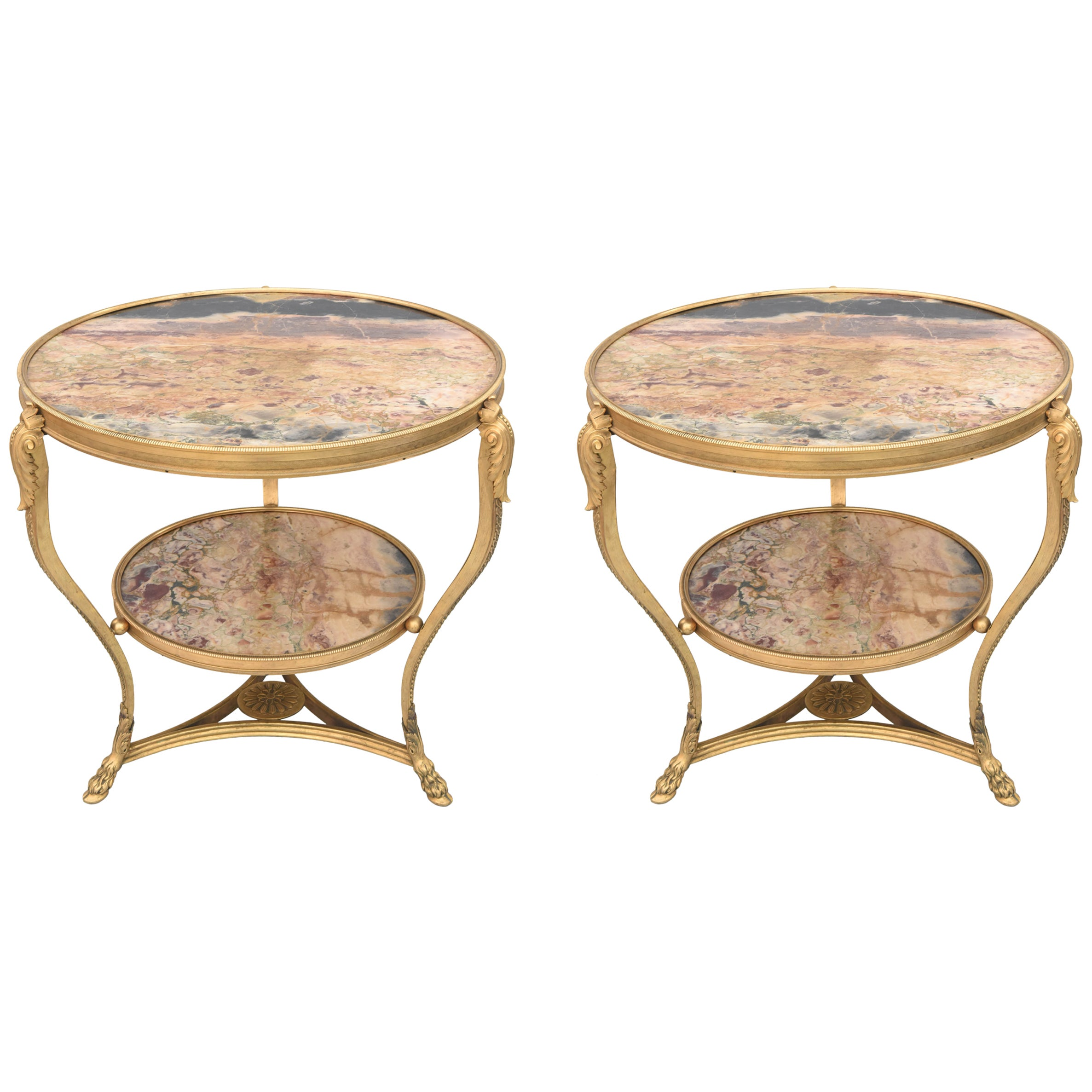Exceptional Pair of 19th Century French Bronze and Marble Gueridons