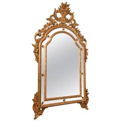 Italian Mirror in Foliate Giltwood Frame, Early 20th Century