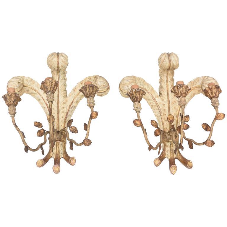 "Unusual Pair of Italian Carved Wood ""Duke of Windsor"" Wall Sconces"