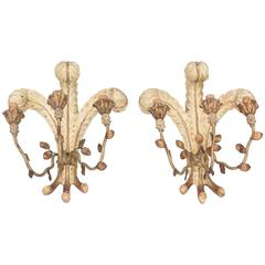 "Unusual Pair of Italian Carved Wood ""Duke of Windsor"" Wall Sconces"