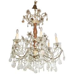 19th Century Italian Pricket Chandelier Draped in Crystal Beads