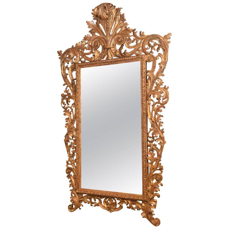 Large, Foliate Carved, 19th Century Italian Giltwood Mirror