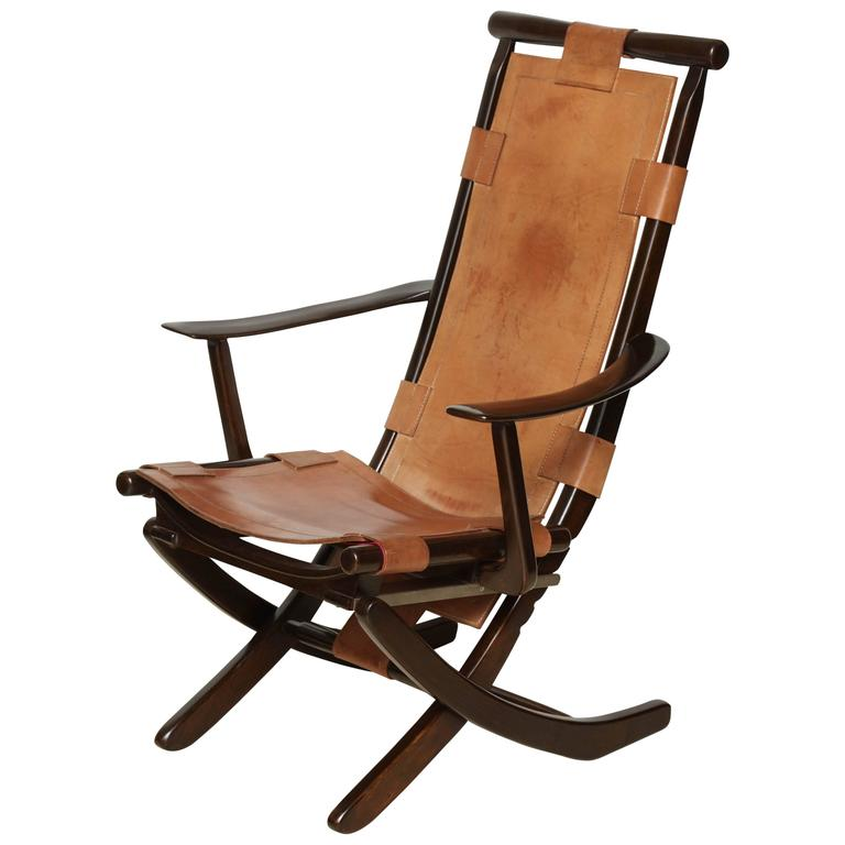 Mid Century Tan Leather and Wood Folding Chair Adjustable circa 1960s at 1s