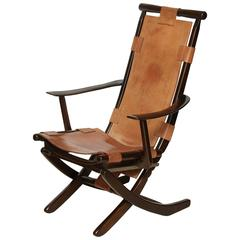 Mid-Century Tan Leather and Wood Folding Chair, Adjustable, circa 1960s