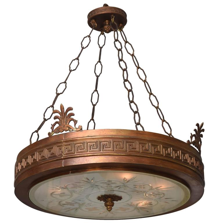 Neoclassical, Art Deco Chandelier in Bronze, Frosted and Cut Glass 1