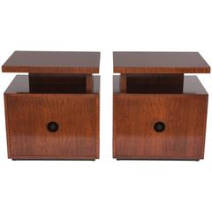 Pair of Moderne Side Tables in Ribbon-Mahogany by Andrew Szoeke Associates