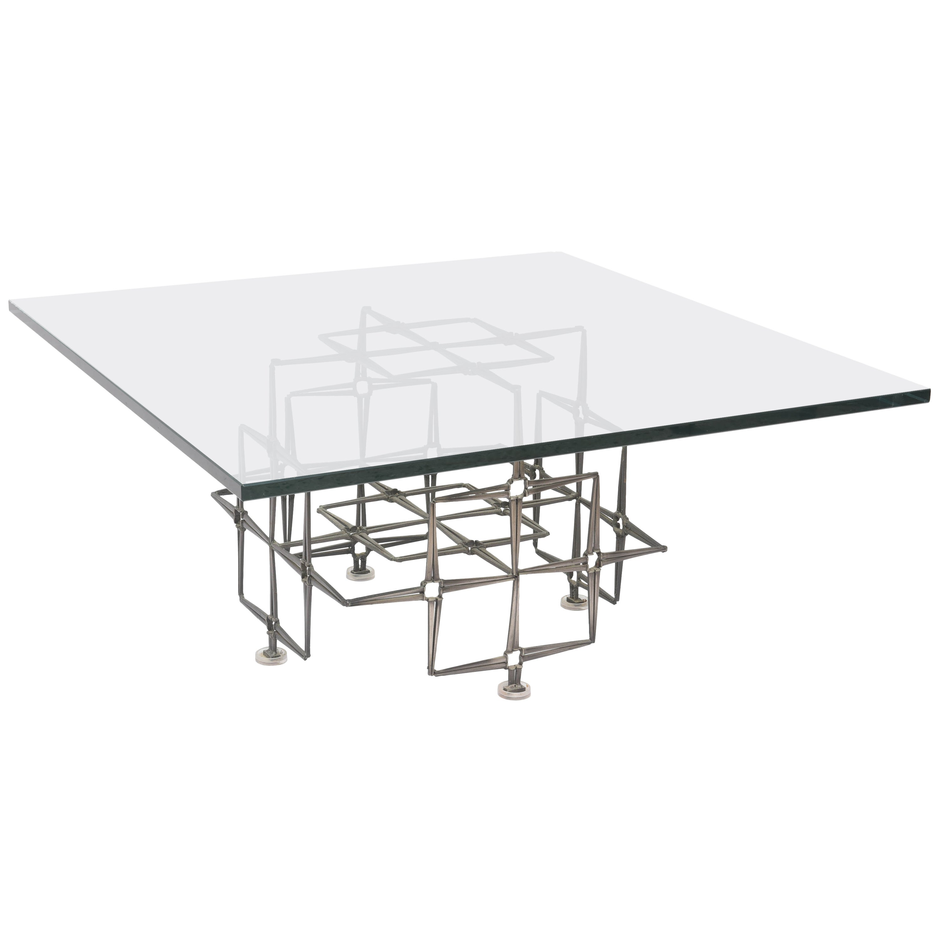 Large Square Brutalist Paul Evans Style Cocktail Table, Nails and Glass