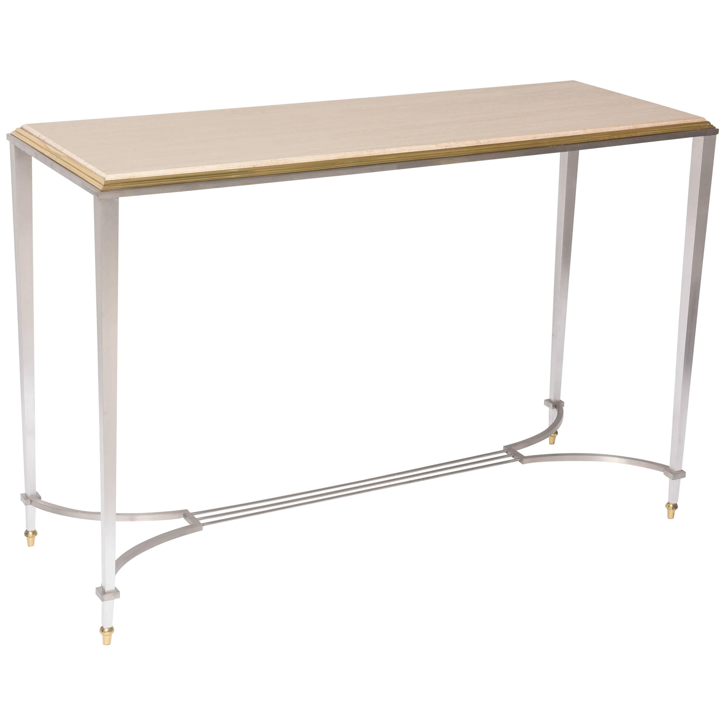 Console Table in Travertine, Steel and Brass
