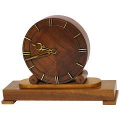 Mid-Century Modern Walnut Fireplace Clock 1948 Austria