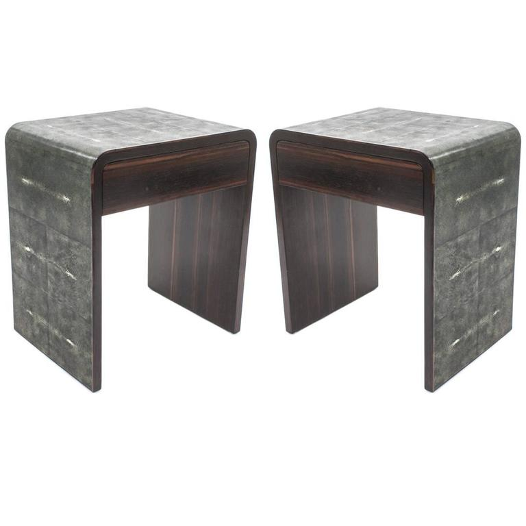 Pair Of Genuine Shagreen Side Tables At 1stdibs