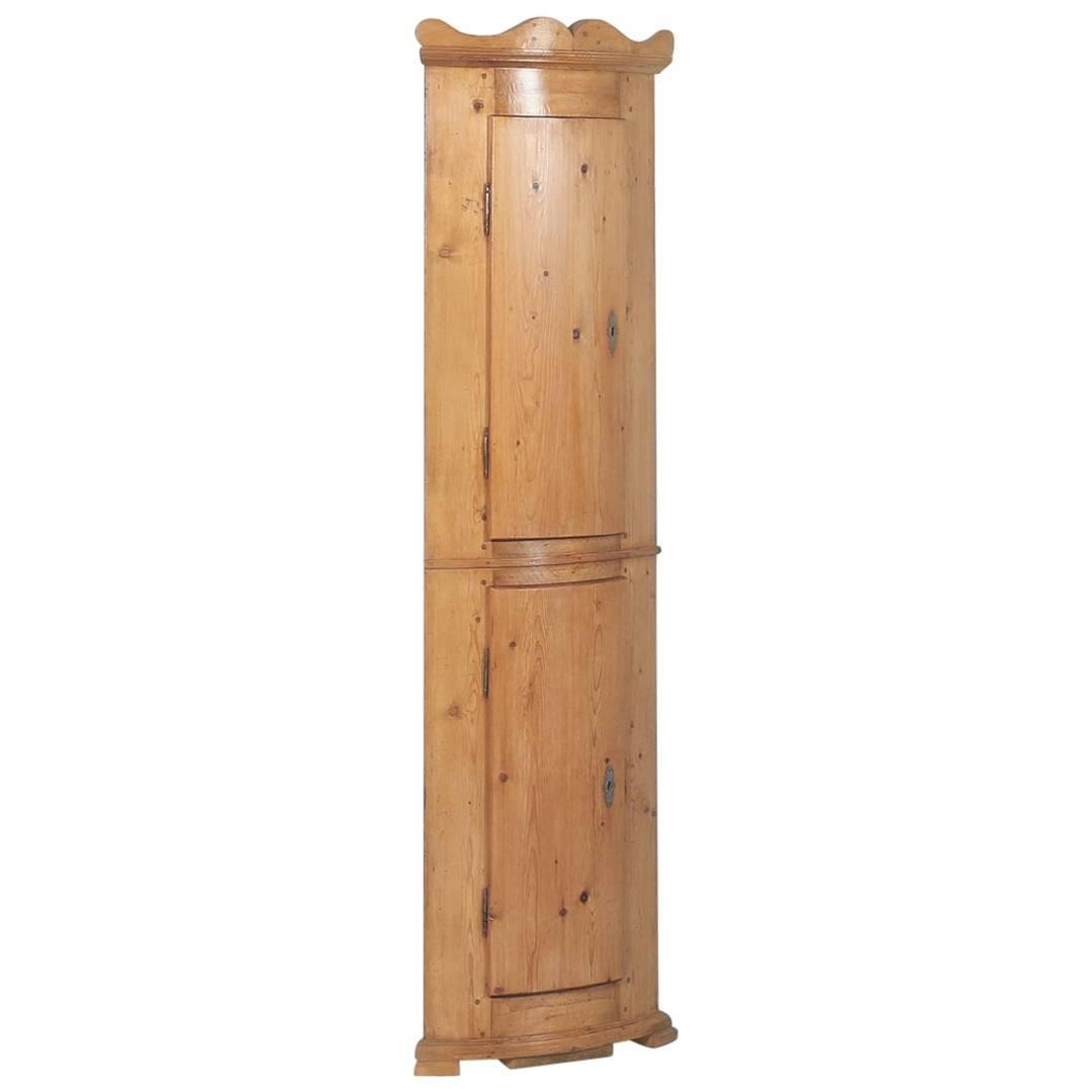 Antique Pine Bowed Front Narrow Corner Cabinet From