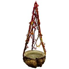 Hanging Ceramic Vessel with Hippie Macrame