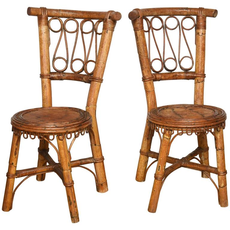 Vintage Pair of Bamboo Italian Chair