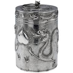 Chinese Export Solid Silver Large Dragon Biscuit Box, Cumwo, circa 1890