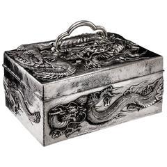 Antique Meiji Japanese Solid Silver Massive Dragon Jewelry Box, circa 1900