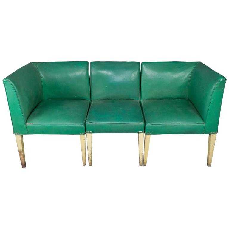 American 1940s Three-Piece Vinyl Banquette For Sale at 1stdibs on