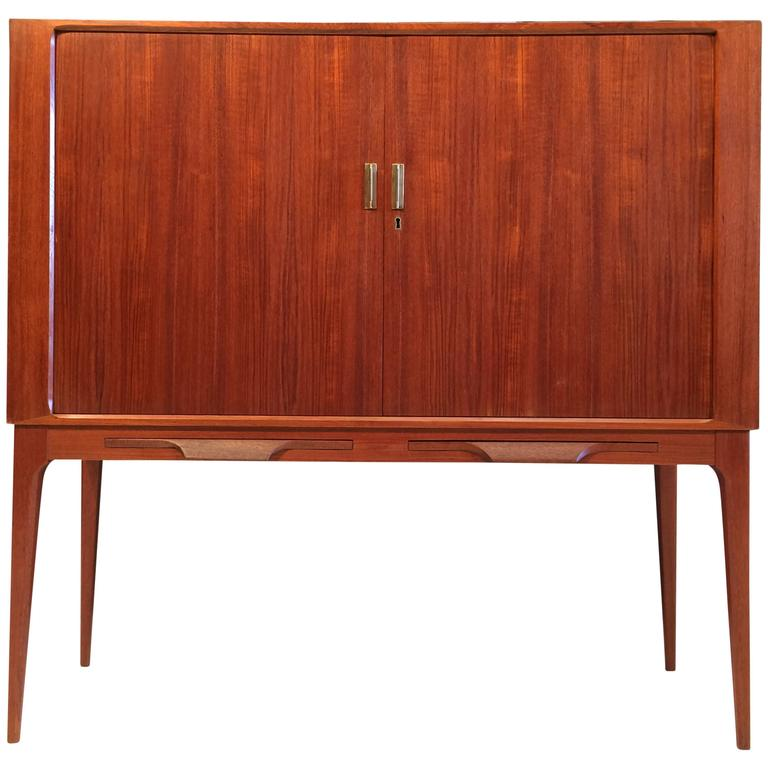 Fine Danish Teak Cabinet with Tambour Doors and Brass Pulls