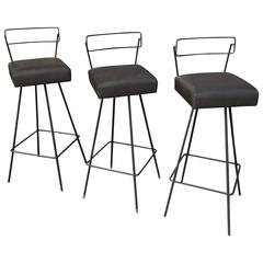 Mid-Century Modern Wrought Iron Swivel Bar Stools in the Style of Tony Paul
