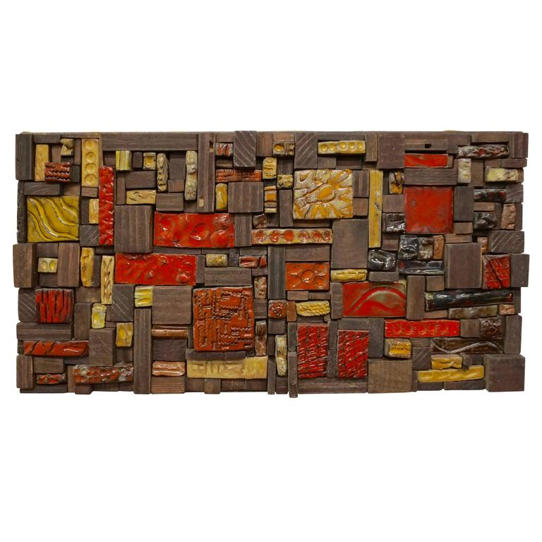 1960s Ceramic Tile and Wood Assemblage