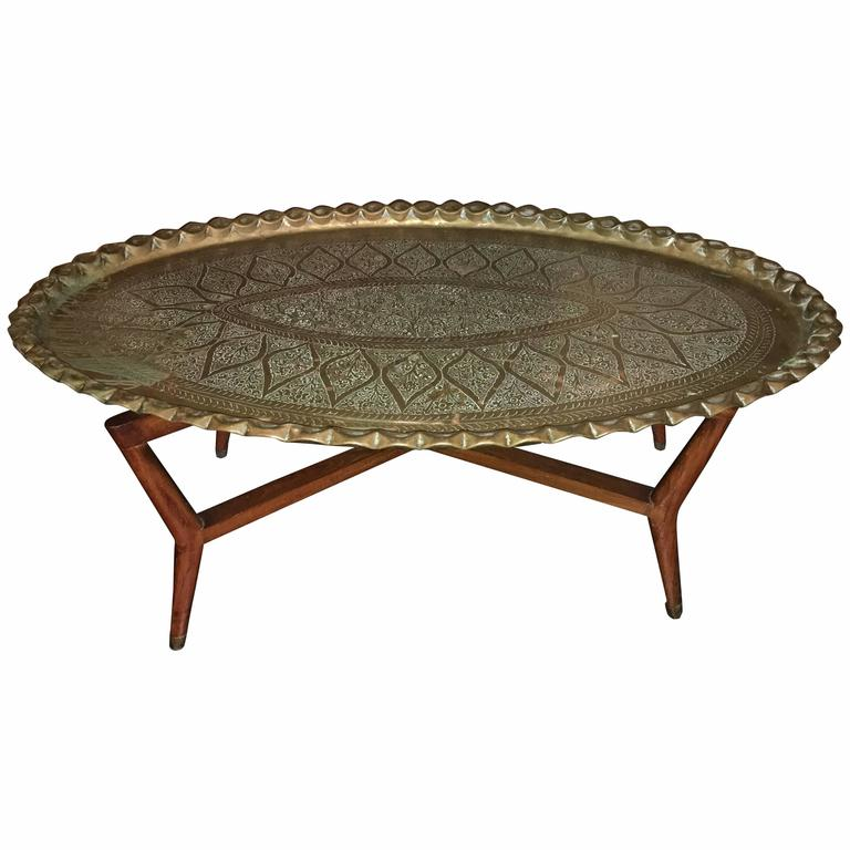 Brass tray folding mid century coffee table at 1stdibs Folding coffee table