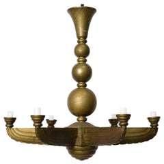 French Deco Bronze Chandelier
