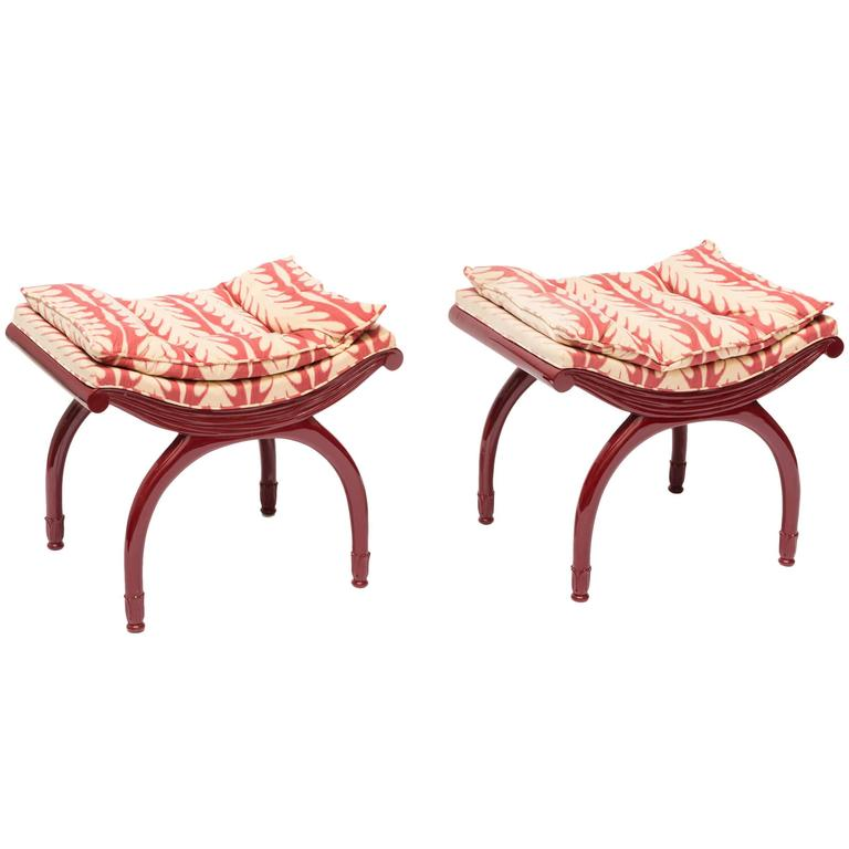 Pair Of Red 1940s Lacquered Benches