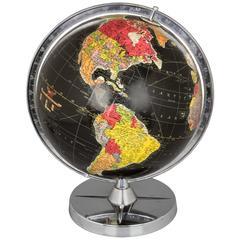Vintage Illuminated Black Ocean Globe by Replogle
