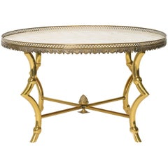 Brass Ram Hoof Table with Capiz Top