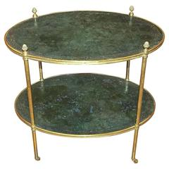 Regency Brass and Tooled Leather Side or End Table