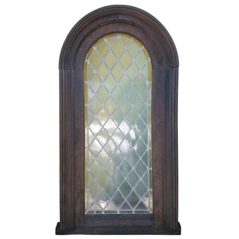 Large Antique Stained Glass Window And Frame At 1stdibs