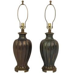 Pair of Ginger Jar Lamps in Antique Bronze Finish