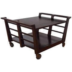 Mid-Century Architectural Low Book Table or Cocktail Cart