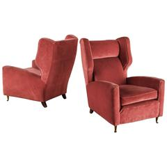 Paolo Buffa Pair of Coral Red Wingback Lounge Chairs, Italy, 1940s