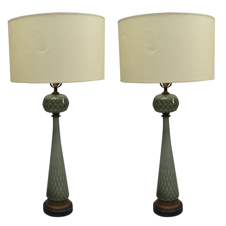 Pair of Large Mid-Century Modern Neoclassical Murano/Venetian Glass Table Lamps For Sale