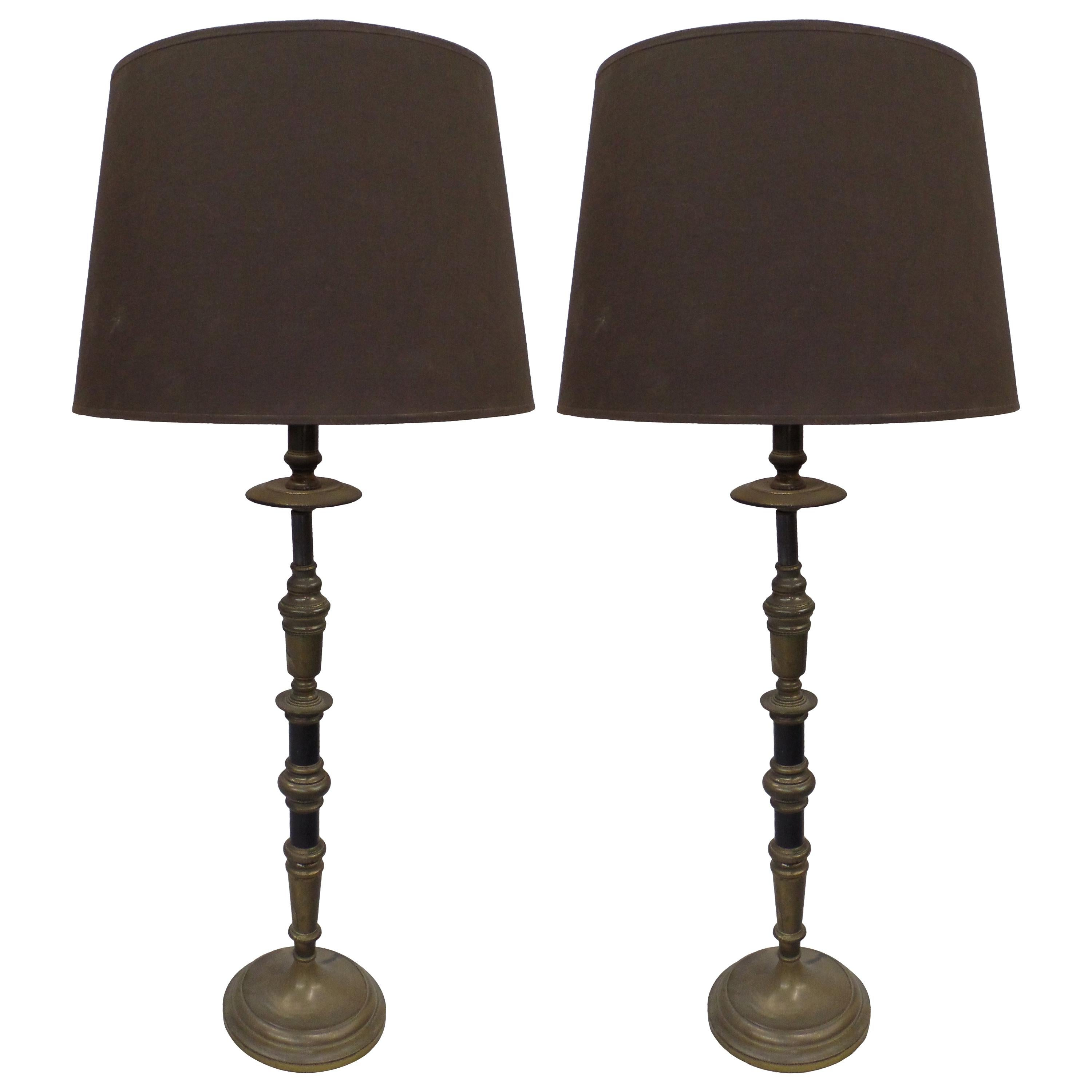 Pair of French Midcentury Neoclassical Candlestick Form Table Lamps, 1930