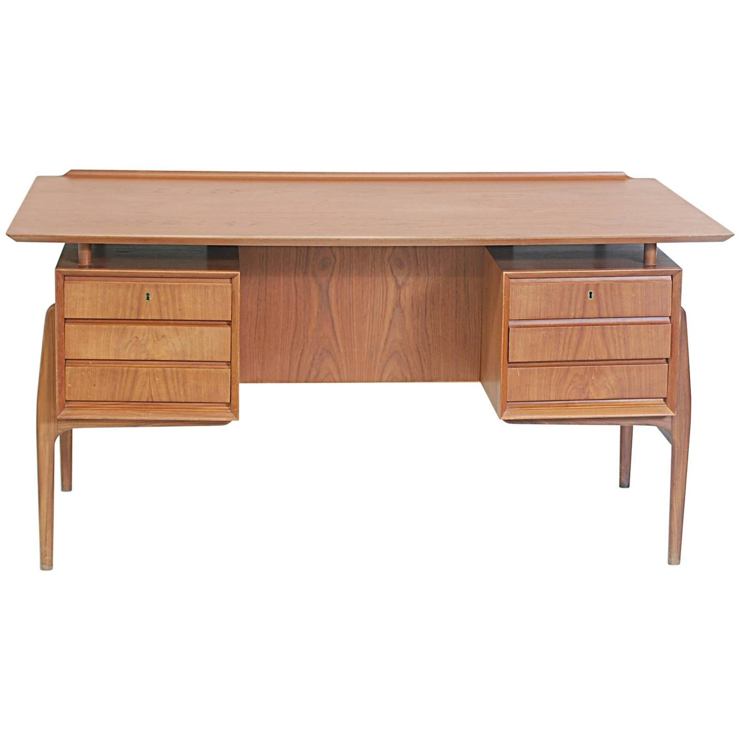 Danish modern teak floating top partners desk for sale at for Floating desk for sale